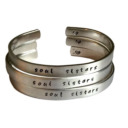 Custom Ink Bracelets (Soul Sisters - Three Piece Gift Set for Sisters - Custom Cuff Bracelet)