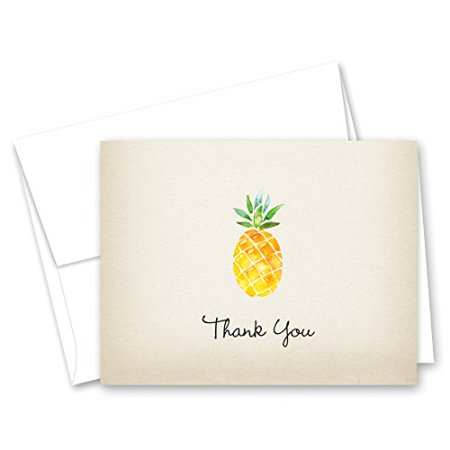 50 Rustic Watercolor Pineapple Thank You Cards + Envelopes - image 1 of 1