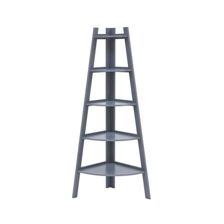 Decorative Corner Finish - Danya B. Decorative 5-Tier A-Frame Corner Ladder Display Bookcase – Grey Finish