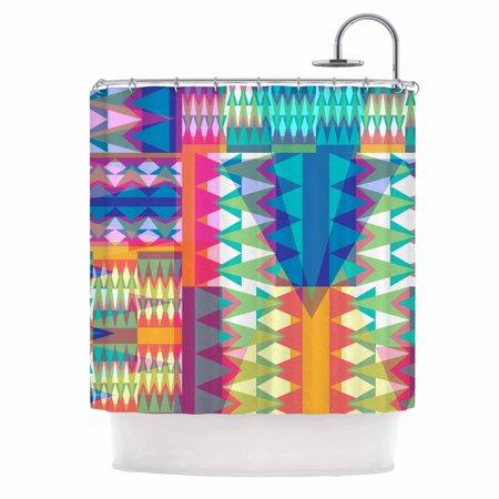 Kess Inhouse  Miranda Mol Triangle Quilt Multicolor Geometric Shower Curtain  69X70