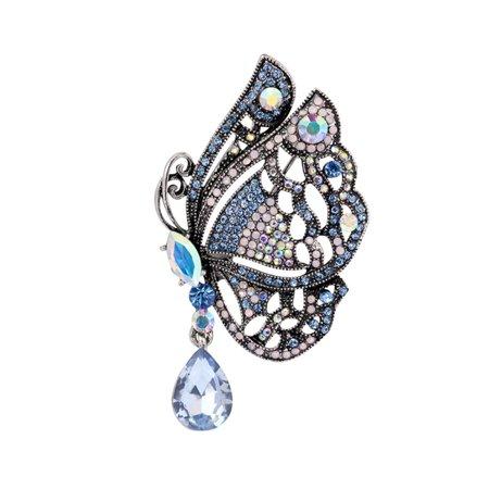 Women Girls Xmas Birthday Gift Refined Butterfly Brooches Shimmer Rhinestone