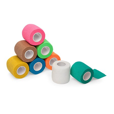 """8-Pack, 2"""" x 5 Yards, Self-Adherent Cohesive Tape, Strong Sports Tape for Wrist, Ankle Sprains & Swelling, Self-Adhesive Bandage Rolls, FDA Approved, Assorted Neon Colors, By California - Postal Approved Basics"""