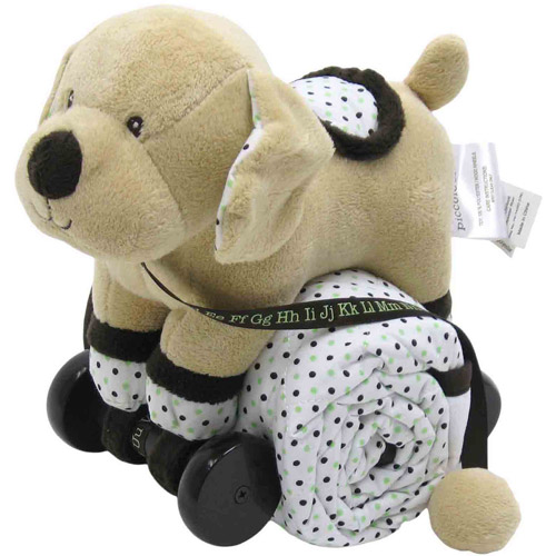 Piccolo Bambino Pull Toy with Quilted Blanket, Beige Dog