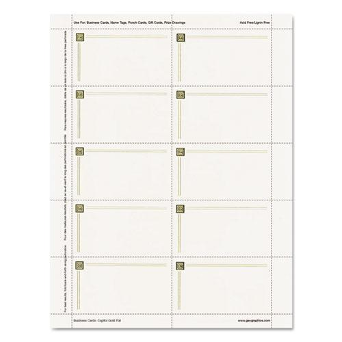 Capital Gold Design Business Cards, 3 1/2 X 2, 65 Lb Stock, Ivory,150/