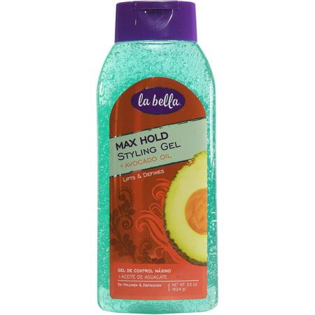 - (4 Pack) La Bella Max Hold Styling Gel, Moisturizing Avocado Oil, 22 Oz