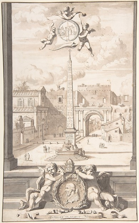 A Reconstruction of a View of the Obelisk at the Entrance of the Via Flaminia Poster Print by Jan Goeree (Dutch... by Public Domain Images