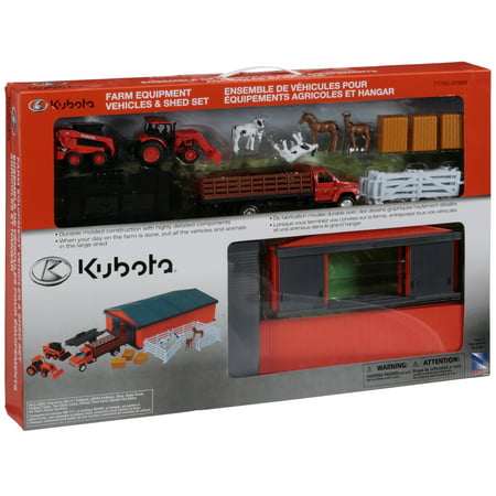 Kubota® Farm Equipment Vehicles & Shed Toy Set 18 pc Box