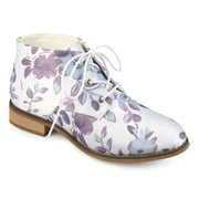 Brinley Co. Womens Faux Leather Stacked Wood Heel Lace-up Print Booties