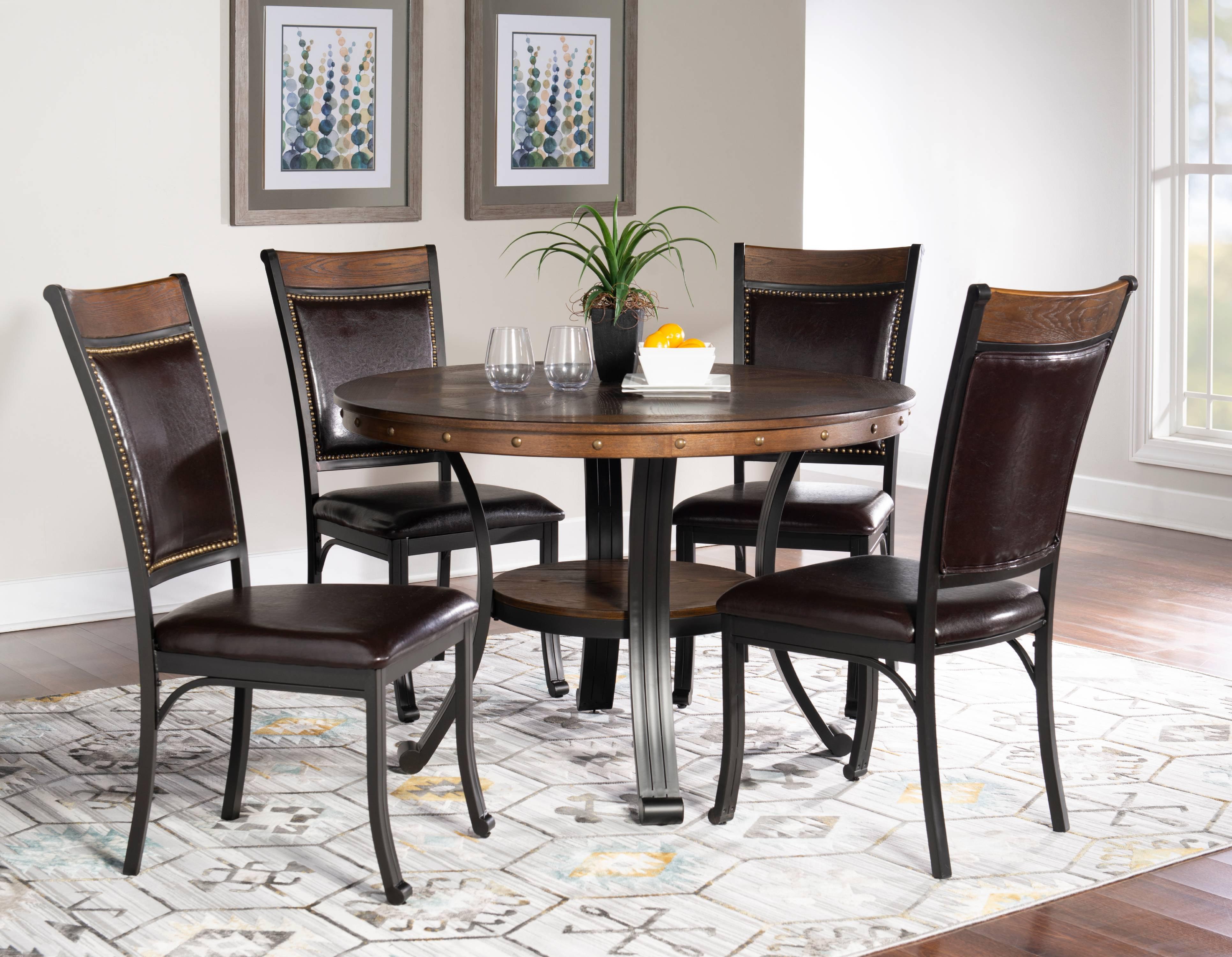 Powell Franklin 5 Piece Dining Table Set, Dark Brown - Walmart.com