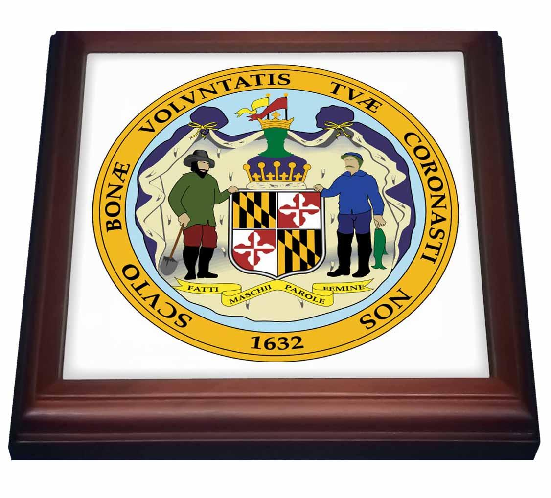 3dRose State Seal of Maryland, Trivet with Ceramic Tile, 8 by 8-inch