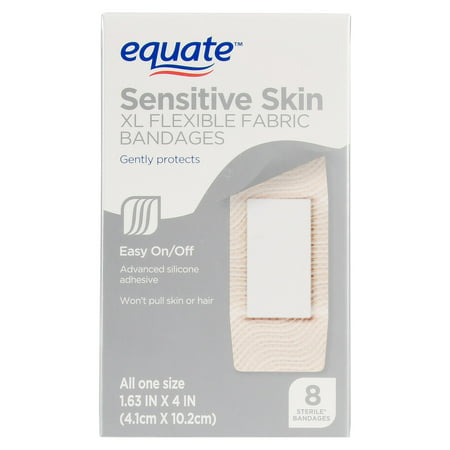 (2 pack) Equate Sensitive Skin XL Flexible Fabric Bandages, 8 Ct ()