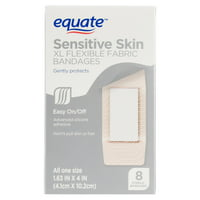 (2 pack) Equate Sensitive Skin XL Flexible Fabric Bandages, 8 Ct
