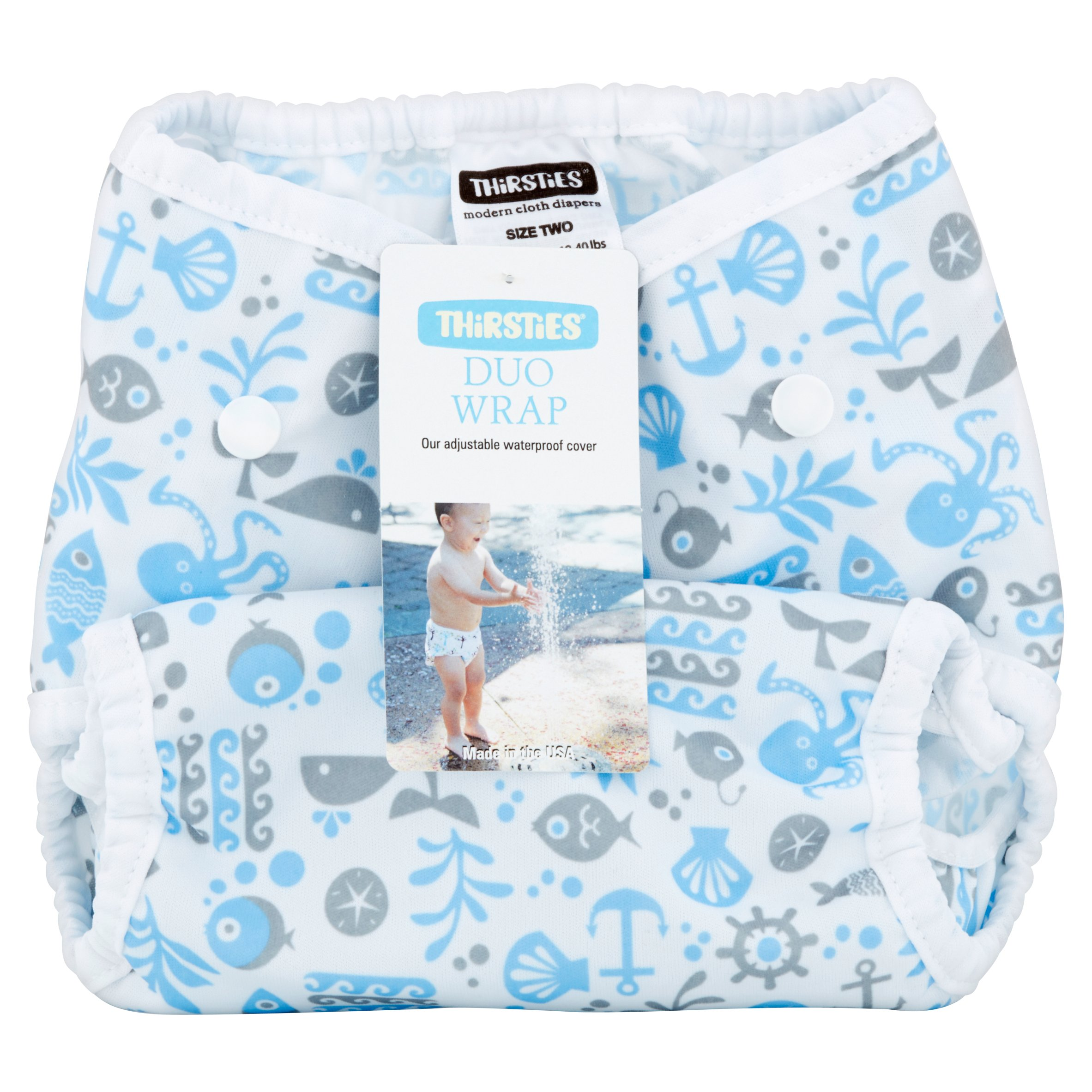 Thirsties Duo Wrap Size Two Ocean Life Modern Cloth Diapers, 9-36 months