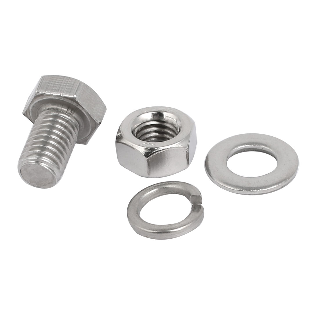 5 Set M10x20mm 304 Stainless Steel Hex Bolts w Nuts and Washers Assortment Kit - image 2 of 3
