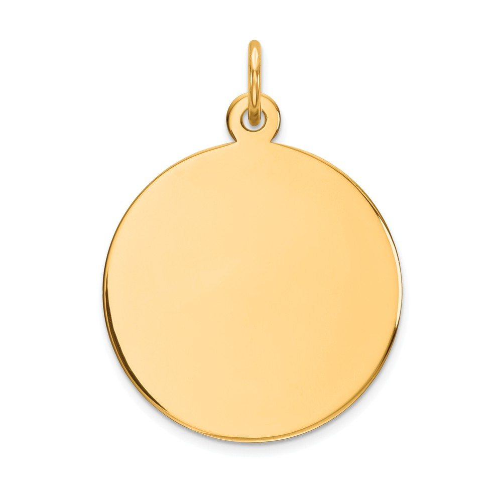 14k Yellow Gold Plain 0.018 Gauge Circular Engravable Disc Charm (1in long x 0.7in wide)