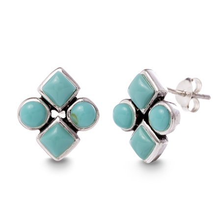 Simulated Turquoise Circle and Diamond Post Earring in Sterling -