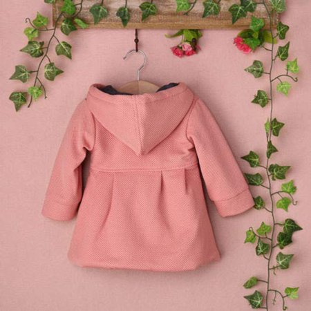 24ecdf9bf Toddler Baby Girls Fall Winter Trench Coat Wind Hooded Jacket Kids ...