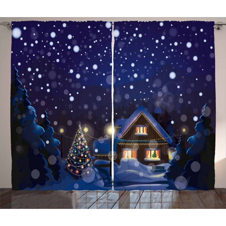 Christmas Curtains 2 Panels Set, Winter Night Country Landscape with Little House Among Pine Trees and Snow, Window Drapes for Living Room Bedroom, 108W X 90L Inches, Navy Blue Yellow, by Ambesonne
