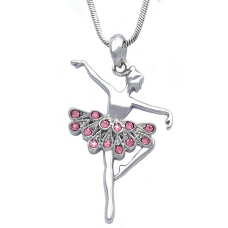 cocojewelry Ballerina Ballet Dancer Dancing Girl Pendant Necklace Jewelry - Little Girls Necklaces