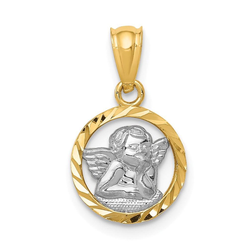 14k Yellow Gold Rhodium Plated Cherub Pendant
