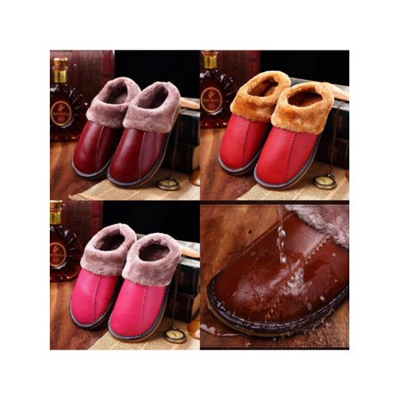 1618c472062 Meigar - Meigar 2018 Winter Warm Fuzzy Cow Leather House Slippers for Women  Fleece Lined Home Shoes - Walmart.com