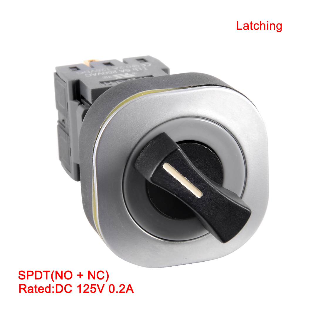 DC 125V 0.2A SPDT 4P NO+NC ON/OFF Rotary Rectangle LatchingSelector Switch - image 1 of 7
