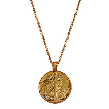 Silver Walking Liberty Half Dollar Gold Layered Coin Pendant With Diamond (Gold Liberty Dollar)