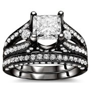 Noori Collection Noori 18k Black Gold 2 3/5ct Princess Diamond Bridal Set