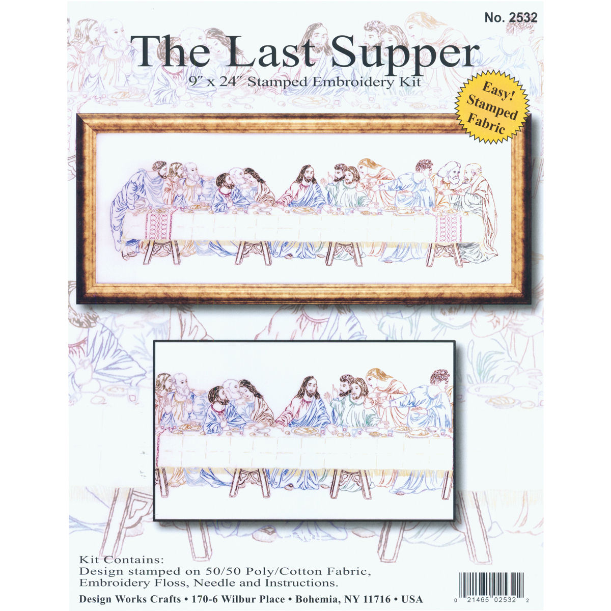"Tobin Last Supper Stamped Embroidery Kit, 9"" x 24"", Stitched In Floss"