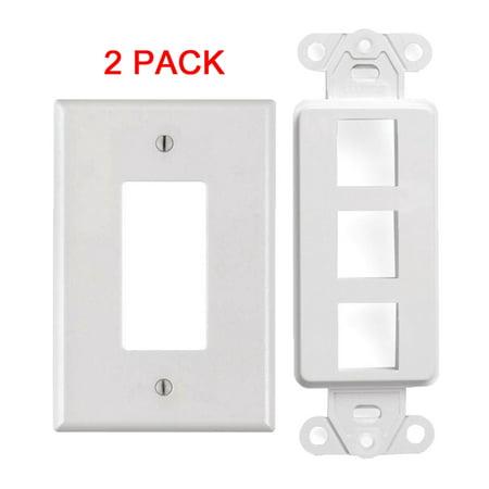 White 3 Port Decora Keystone Snap-in Jack Modular Wall Insert Cover Plate (2/pk)