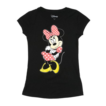 Girls Minnie Mouse Polka Dot Dress & Bow T-Shirt Front & Back Print Black - Minnie Mouse First Birthday Dress