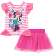 Minnie Mouse Baby Toddler Girl Graphic Shirt and Skirt Outfit Set
