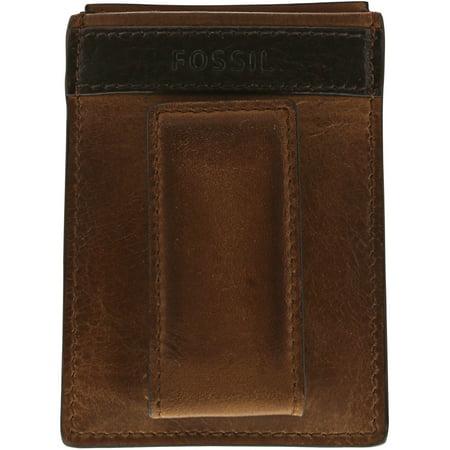big sale dbd52 e5b67 Fossil Men's Quinn Magnetic Card Case Leather Wallet - Brown