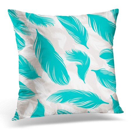 ARHOME Blue Falling with White and Turquoise Feathers on The Beige Color Pillow Case Pillow Cover 18x18 inch - White And Turquoise