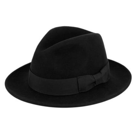 Premium Milano Wool Crushable Fedora Hat w/Grosgrain Band Classic Flat Brim