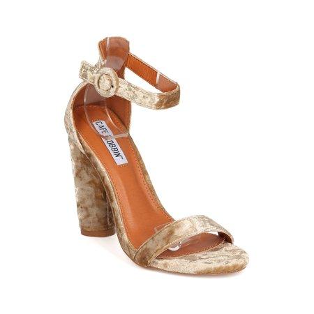 36095c2e962 Cape Robbin - Women Velvet Block Heel Sandal - Wedding