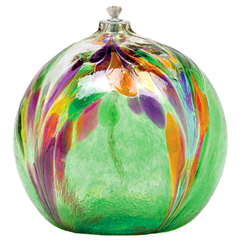 Art Glass Hand Blown 6'' Round Oil Lamp Green Calico Festival by