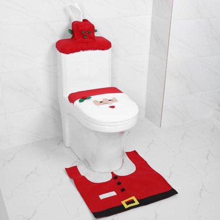 Yosoo Christmas Toilet Seat Cover Set Christmas Bathroom Toilet Seat