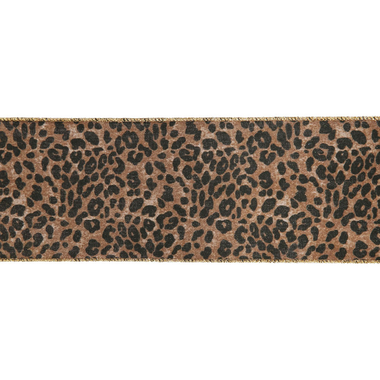 """Leopard Gold and Black Wired Craft Ribbon 4"""" x 10 Yards"""