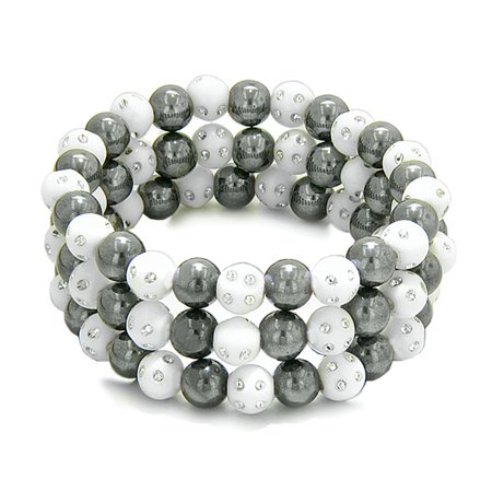 - Amulets Set of 3 Individual Simulated Hematite Magnetic Bracelets in White Sparkling Beads Crystals