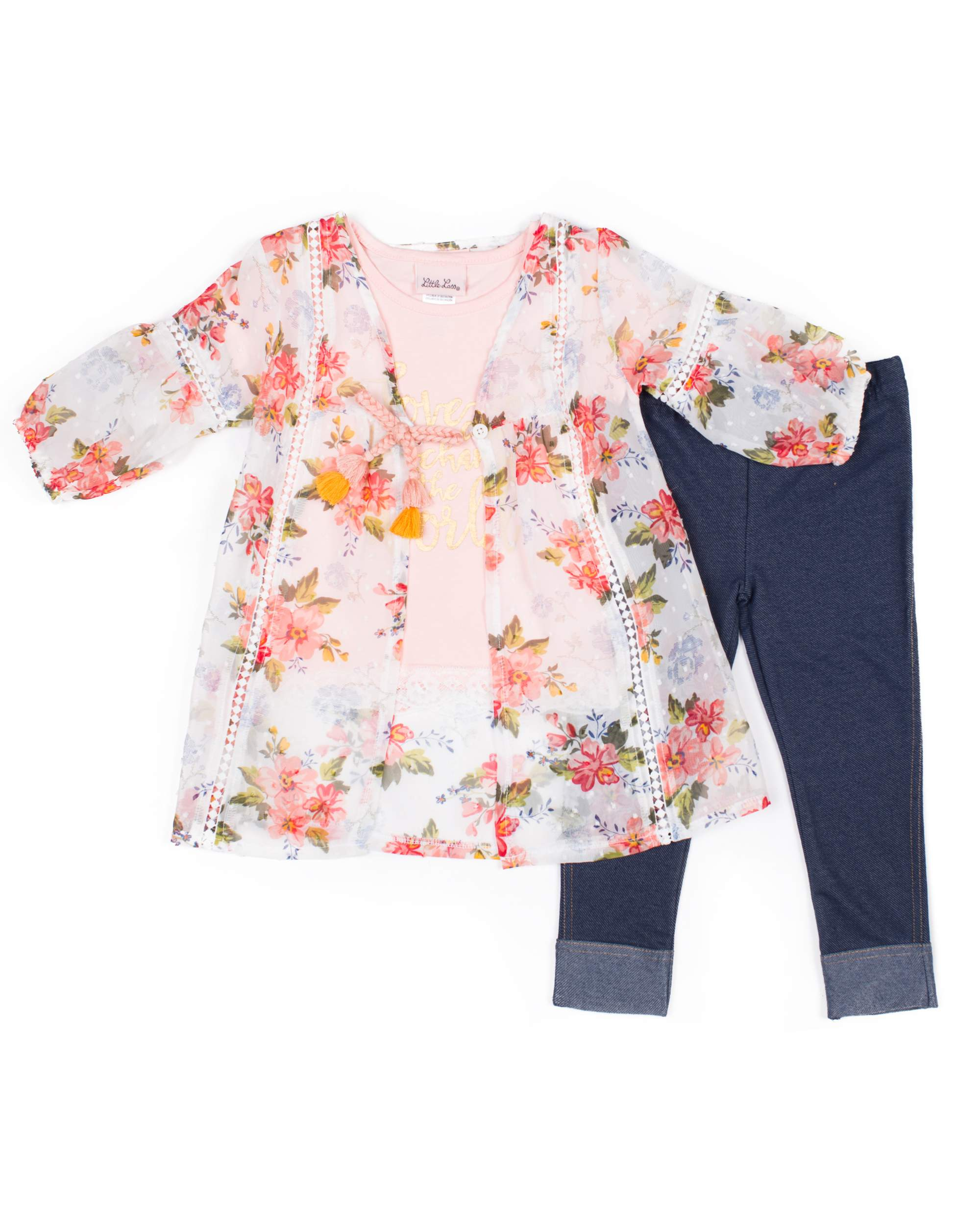 Floral Chiffon Kimono, Graphic Tee and Knit Denim Legging, 3-Piece Outfit Set (Little Girls)