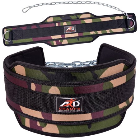ARD CHAMPS™ Weight Lifting Belt/ Neoprene Belt/ Exercise Belt With Heavy Chain Green Camo (Lifting Belt Chain)