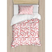 candy cane twin size duvet cover set illustration of xmas themed figures traditional candies and - Christmas Bedding Sets
