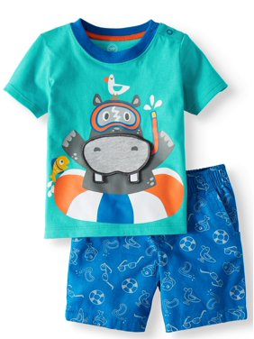 Product Image 3-D Interactive Graphic T-shirt & Shorts, 2pc Set (Baby Boys