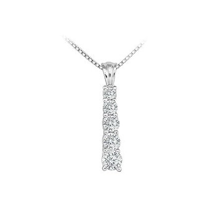 Cubic Zirconia Journey Pendant Sterling Silver 1.00 CT CZs Jewelry - image 2 of 2