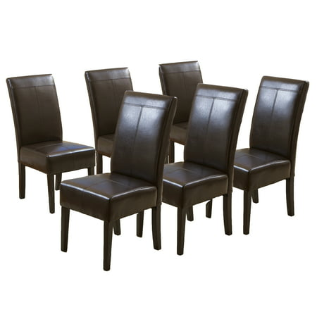 Emerson T-stitch Leather Dining Chairs, Chocolate Brown, Set of 6