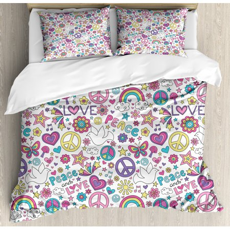 Doodle King Size Duvet Cover Set, Retro Symbols of Sixties Peace Magic Mushroom Love Stars and Hearts Hippie Music, Decorative 3 Piece Bedding Set with 2 Pillow Shams, Multicolor, by