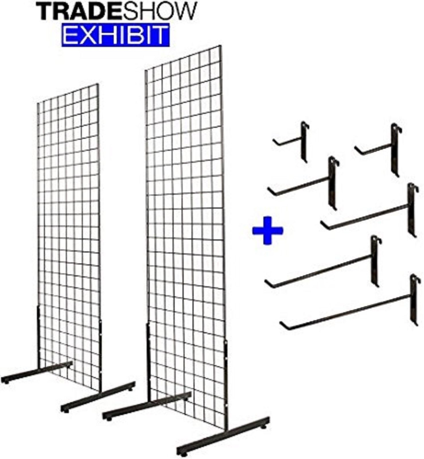 2' x 6' Gridwall Tower with T-Base Floorstanding Display Kit+Hooks