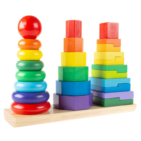 - Rainbow Stacking Shapes - Classic Wooden Montessori Manipulation Toy for Babies and Toddlers to Learn Colors, Shapes and Patterns by Hey! Play!