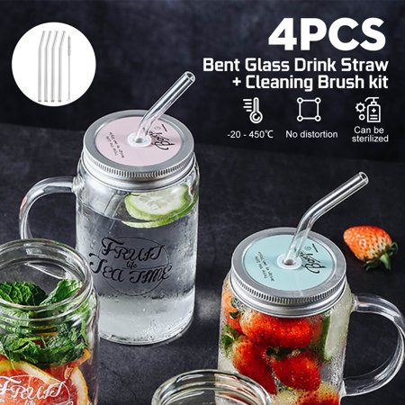 4Pcs Bent Glass Tube Drinking Straw Sucker with Cleaning Brush For Coffee Cold Beverage